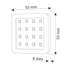 OPRAWA LED SQUARE, ZESTAW 2 PKT- rysunek techniczny