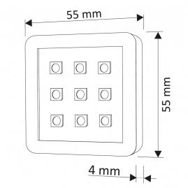 SQUARE RGB 1,8W, OPRAWA  LED, ZESTAW 3PKT- rysunek techniczny GOTOWY ZESTAW