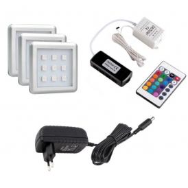 SQUARE RGB 1,8W, OPRAWA  LED, ZESTAW 3PKT- GOTOWY ZESTAW