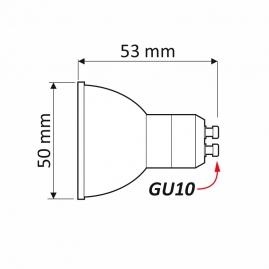 Żarówka LED 5W - GU10/230V rysunek techniczny