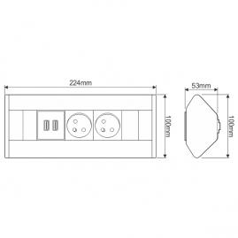 CORNER BOX USB-  Przedłużacz meblowy narożny rysunek techniczny