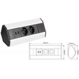 CORNER BOX USB-  gniazdo meblowe narożne wymiary