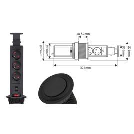 LIFT BOX USB - przedłużacz meblowy 230V rysunek techniczny