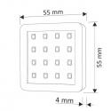 OPRAWA LED SQUARE, ZESTAW 2 PKT- wymiary-rysunek techniczny