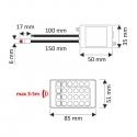 ZESTAW TAŚMA RGB 150 LED IP45- sterownik IR rysunek techniczny