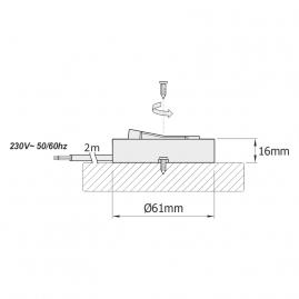 Wyłącznik meblowy WM230 rysunek techniczny