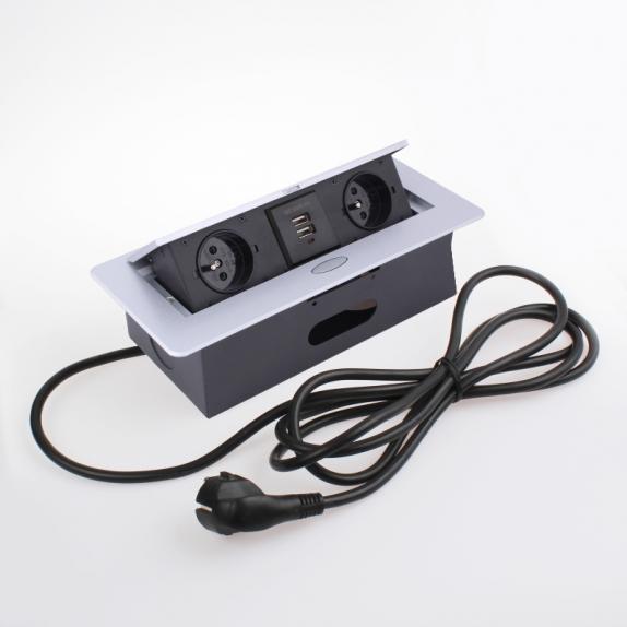 KOMBI BOX Z USB - przedłużacz meblowy wpuszczany w blat aluminium