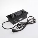 KOMBI BOX Z USB - gniazdo meblowe wpuszczane w blat czarny