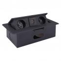 KOMBI BOX Z USB - przedłużacz meblowy wpuszczany w blat czarny
