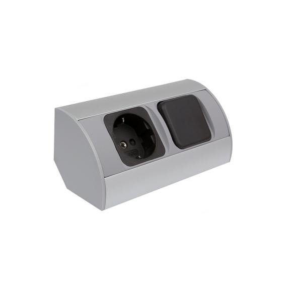 CORNER BOX 1 - Gniazdo mebolowe narożne  aluminium 230V