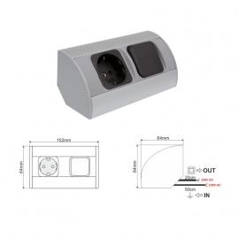 CORNER BOX 1 - Gniazdo mebolowe do kuchni narożne  aluminium 230V