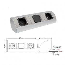 CORNER BOX 3 - Przedłużacz meblowy narożny - rysunek techniczny