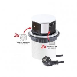 TETRA BOX  - GNIAZDO wpuszczane w blat z USB i wtyczką