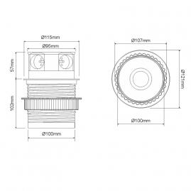 TETRA BOX  - GNIAZDO wpuszczane w blat z USB- rysunek techniczny