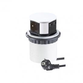 TETRA BOX - GNIAZDO wpuszczane w blat z USB. Przedłużacz do biura, kuchni lub warsztatu.