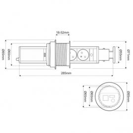 LIFT BOX gniazdo meblowe chowane w blatcie rysunek techniczny
