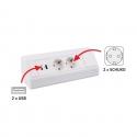 CORNER BOX - przedłużacz meblowy idealny do kuchni i biura  230V. Białe gniazdo meblowe z wbudowaną ładowarką USB.