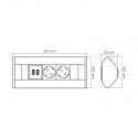 CORNER BOX - przedłużacz meblowy idealny do kuchni i biura 230V. Rysunek techniczny.