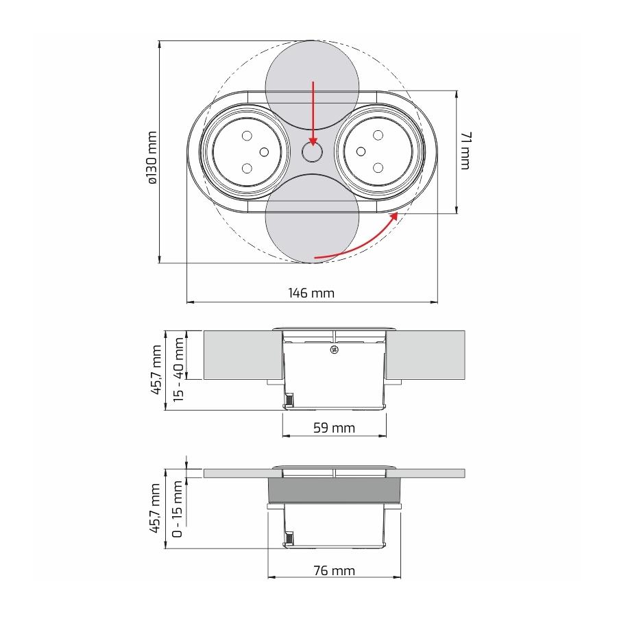 EIGHTBOX gniazdo meblowe z obrotową przesłoną