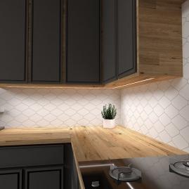 TAŚMA PREMIUM 60 LED/m typ 2835 - IP20, 30W aranżacja w czarnej kuchni z drewnianym blatem