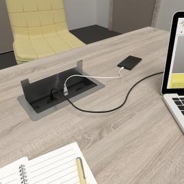 INBOX gniazdo wpuszczone w blat biurka widok z otwartą pokrywą