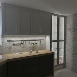 Profil aluminiowy INLINE Z 2 m oświetlone meble kuchenne i witryna