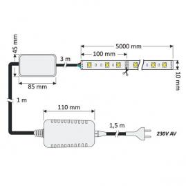 ZESTAW TAŚMA RGB 150 LED, IP20+STEROWNIK, PILOT I ZASILACZ-rysunek techniczny. Instalacja