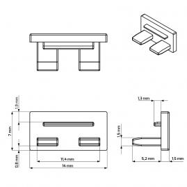 rysunek techniczny zaślepki do Line Mini nowego typu