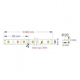 Taśma PREMIUM 5MM 300 LED typ 2835 IP20 30W. Rysunek techniczny.