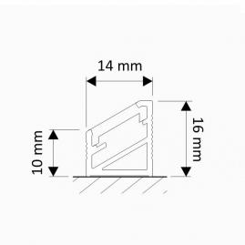 Profil nawierzchniowy  aluminium  TRI-LINE MINI 1m rysunek techniczny