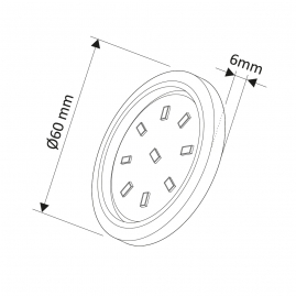 ORBIT XL 3W, podszafkowa oprawa LED - rysunek techniczny