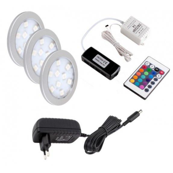 Zestaw oświetlenia LED RGB. 3 Oprawy RGB Orbit, sterownik, pilot, zasilacz do LED.
