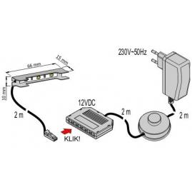 KLIPS LED METALOWY, ZESTAW 4 PKT.- system podłączń mini konektor